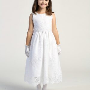 Corded embroidery lace on tulle first holy communion dress