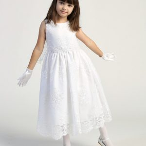 Corded embroidery lace on tulle girls first communion dress