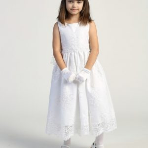 Corded lace on tulle first communion dress