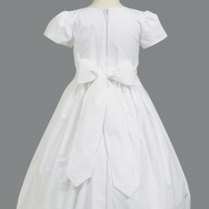 Cotton First Communion Dress with Smocked Waistband
