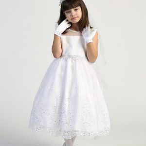 Cute First Communion Dress with Crystals