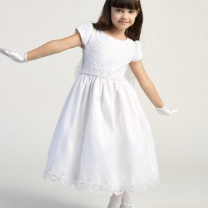 Embroidered lace with sequins on tulle bodice first communion dress