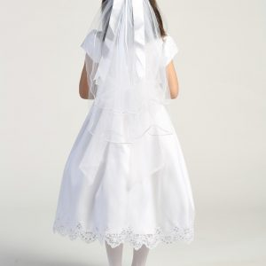 Embroidered lace with sequins on tulle bodice first communion dress for girls
