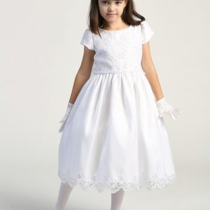 Embroidered lace with sequins on tulle bodice first holy communion dress