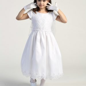 Embroidered lace with sequins on tulle bodice pretty first communion dress