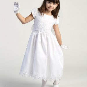 Embroidered lace with sequins on tulle bodice tea length first communion dress