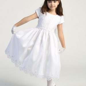 Embroidered lace with sequins on tulle first communion dress