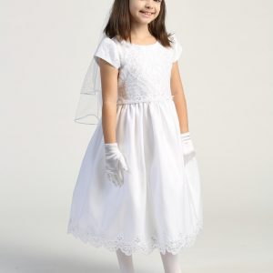 Embroidered lace with sequins short sleeve first communion dress