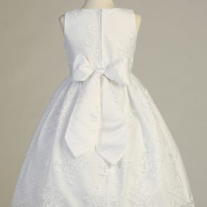 First Communion Dress Corded embroidery lace on tulle with Bow