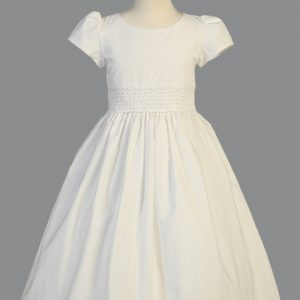 First Communion Dress Cotton with Smocked Waist