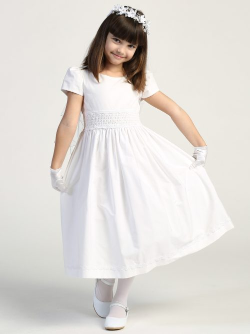 First Communion Dress Cotton with Smocked Waistband