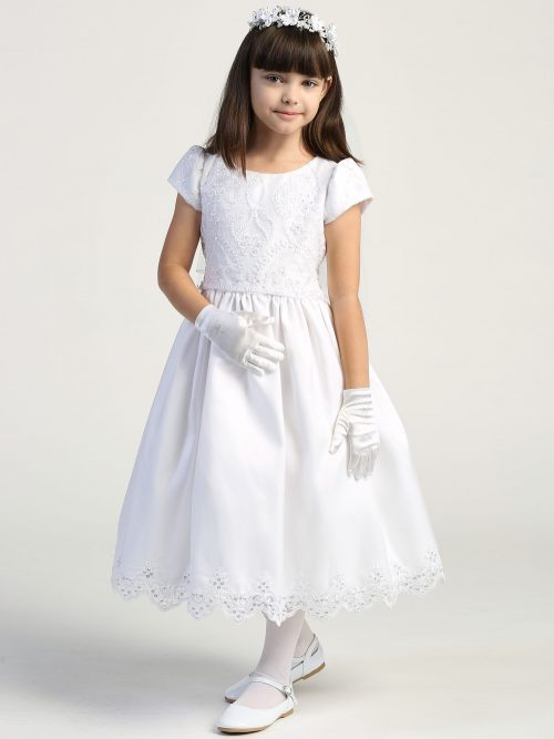 First Communion Dress Embroidered lace with sequins on tulle bodice