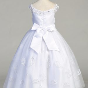 First Communion Dress Glitter tulle skirt with Bow