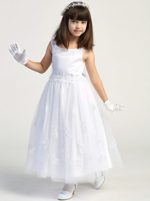 First Communion Dress Glitter tulle skirt with embroidered appliques