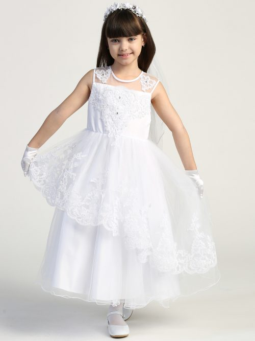 First Communion Dress Illusion neckline with beaded applique bodice