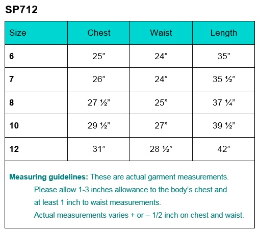 First Communion Dress Size CHart SP712