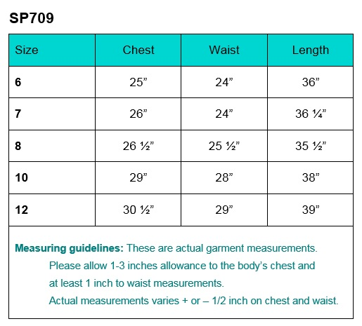 First Communion Dress Size Chart sp709