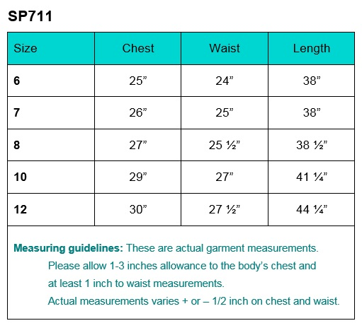 First Communion Dress Size Chart sp711