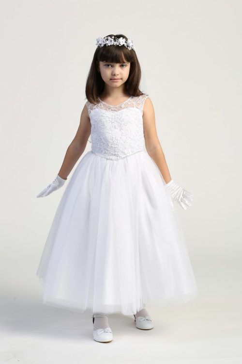 First Communion Dress Embroidered tulle bodice with sequins