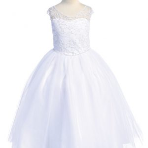 First Communion Dress with Beaded Bodice Illusion Neckline
