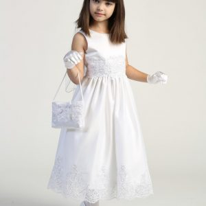 First Communion Dress with Beaded Bodice and Lace Skirt