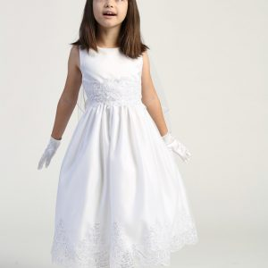 First Communion Dress with Beaded Bodice and Skirt
