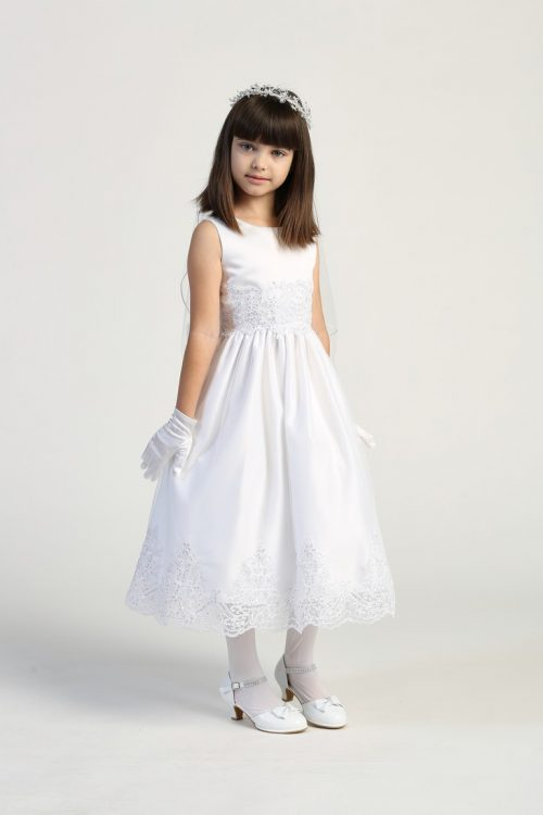 First Communion Dress with Beaded Bodice and Skirt for Girls