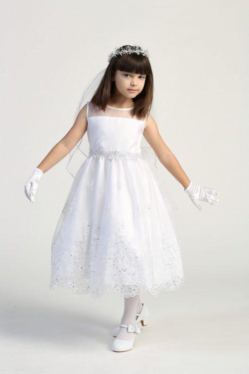 Embroidered First Communion Dress with Flower Neckline