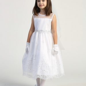 First Communion Dress with Crystals Sheer Neckline