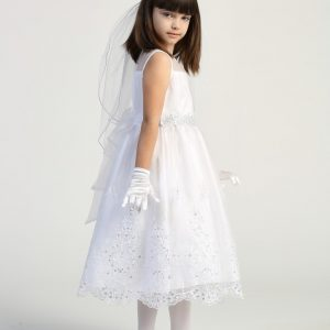 First Communion Dress with Crystals for Girls