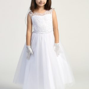 First Communion Dress with Embroidered tulle bodice with sequins