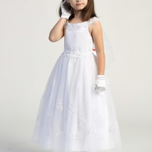 First Communion Dress with Lace Appliques on Skirt
