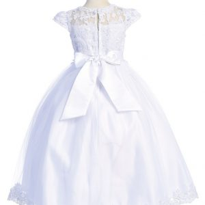 First Communion Dress with Lace Bodice and cap Sleeves with Bow