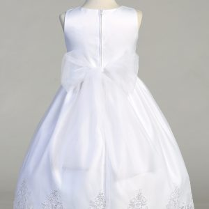 First Communion Dress with corded embroidery with Bow