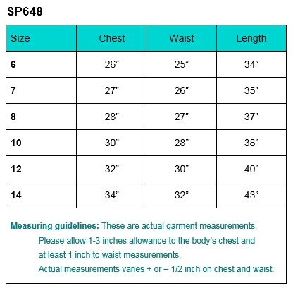 First Communion Size Chart sp648