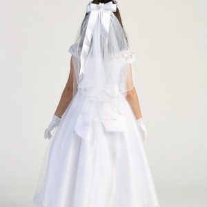 First Holy Communion Dress with Lace Bodice and cap Sleeves
