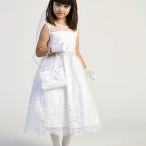 Girls First Communion Dress with Crystals