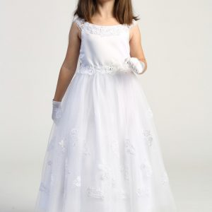 Girls First Communion Dress with Lace Appliques on Skirt