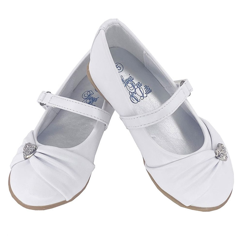 Girl's flat First Communion shoes with rhinestone heart and strap