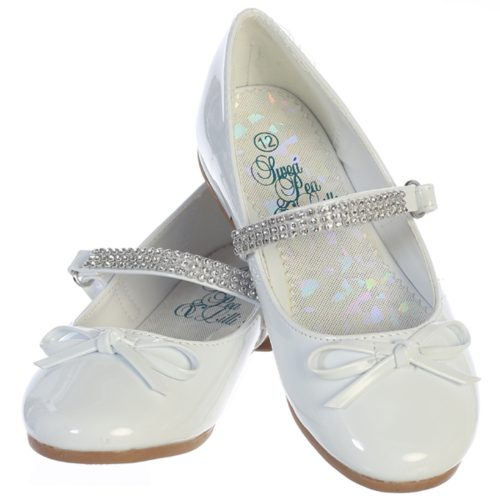 Girl's flat First Communion shoes with rhinestone strap and bow