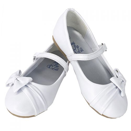 Girl's flat First Communion shoes with side bow and strap