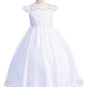 Holy Communion Dress with Lace Bodice and cap Sleeves