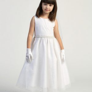 Inexpensive Tea Length First Communion Dress