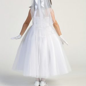 Modern First Communion Dress with Beaded Bodice Lace up Back