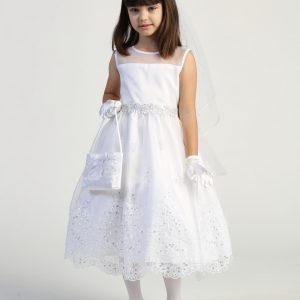 Modern First Communion Dress with Crystals