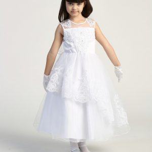 Modern first communion dress with Layered tulle skirt with embroidered trim