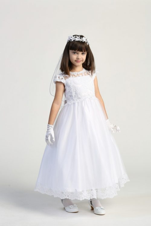 First Communion Dress Embroidered lace Bodice Cap Sleeves