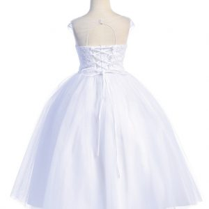 Pretty First Communion Dress with Beaded Bodice Lace up Back
