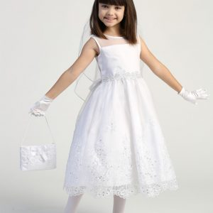 Pretty First Communion Dress with Crystals