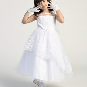 Pretty first communion dress with Layered tulle skirt with embroidered trim